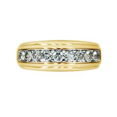 Mens 1 CT. T.W. Genuine White Diamond 10K Gold Wedding Band