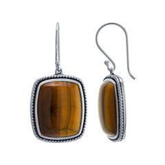 Brown Tiger's Eye Sterling Silver Drop Earrings