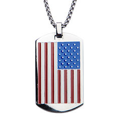 Inox® Mens Stainless Steel American Flag Dog Tag Pendant Necklace