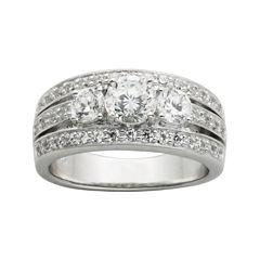 DiamonArt® Cubic Zirconia Sterling Silver 3-Stone Wedding Band