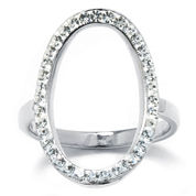 Sterling Silver Crystal Open Circle Ring