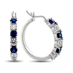 Lab Created Blue & White Sapphire Hoop Earrings In Sterling Silver