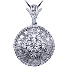 2 CT. T.W. Certified Diamond 14K White Gold Pendant Necklace