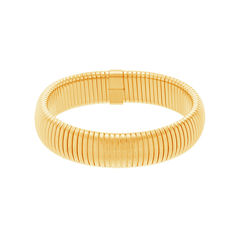 Yellow IP Stainless Steel Textured Stretch Bracelet