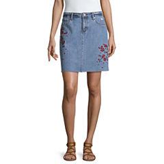 a.n.a Embroidered Denim Skirt