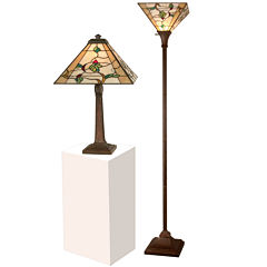 Dale Tiffany™ Green Leafs Table And Torchiere Lamp Set