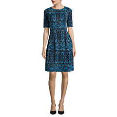 Danny & Nicole® Elbow-Sleeve Mirror Pattern Fit-and-Flare Scuba Dress