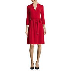 Liz Claiborne® 3/4-Sleeve Wrap Dress