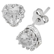 Sterling Silver Lab Created White Sapphire Crown Earrings