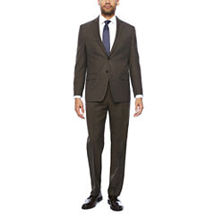 Collection by Michael Strahan Brown Sharkskin Suit- Classic