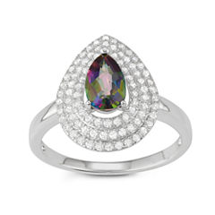 Womens Multi Color Topaz Sterling Silver Cocktail Ring