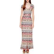 Olsenboye® Cap-Sleeve Boho-Striped Maxi Dress