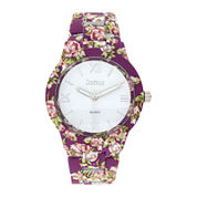 Decree® Womens Pink Floral Print Strap Bracelet Watch
