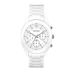 Caravelle New York® Womens White Ceramic Chronograph Watch 45L145