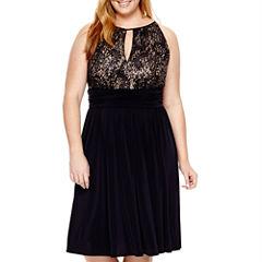 R&M Richards Sleeveless Lace Halter Dress - Plus