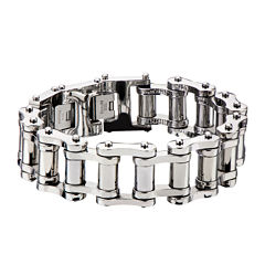 Inox® Jewelry Mens Stainless Steel Motor Chain Link Bracelet