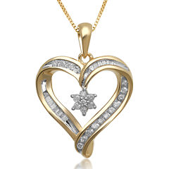 1/4 CT. T.W. Diamond Heart and Flower Pendant Necklace
