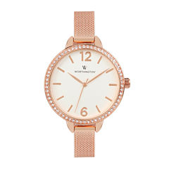 Worthington® Womens Rose Gold Tone Mesh Bracelet Watch