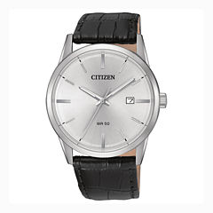Citizen® Quartz Men'S Silver Tone And Black Stainless Steel Leather Strap Watch Bi5000-01A