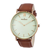 Peugeot® Men's Brown And Rose Gold Tone Ultra Slim Leather Strap Watch 2050RG