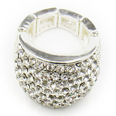 Vieste® Silver-Tone Crystal Pave Stretch Ring
