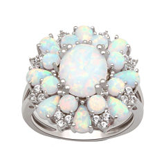 Lab Created Opal And White Sapphire Sterling Silver Ring