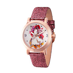 Disney Princess Disney Princess Womens Purple Strap Watch-Wds000178
