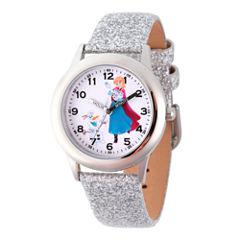 Disney Princess Anna Frozen Girls Silver Tone Strap Watch-Wds000196