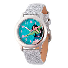 Disney Princess Mulan Girls Silver Tone Strap Watch-Wds000204