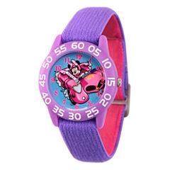 Disney Minnie Mouse Girls Purple Strap Watch-Wds000216