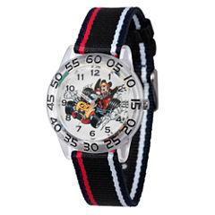Disney Mickey Mouse Boys Black Strap Watch-Wds000217