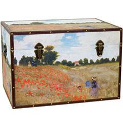 Oriental Furniture Monet's Poppies Storage Trunk