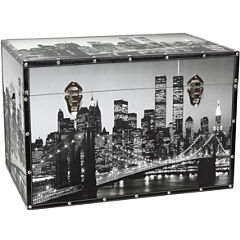 Oriental Furniture New York Scenes Storage Trunk