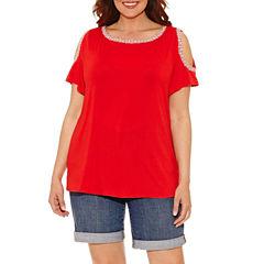 Liz Claiborne Cold Shoulder T-Shirt-Womens Plus