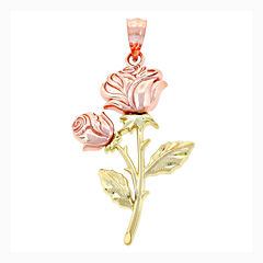 14K Two-Tone Gold Double Roses Charm Pendant