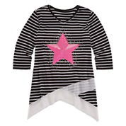 Total Girl® 3/4-Sleeve Sharkbite Top - Girls and Plus