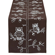 Design Imports Embroidered Owl Table Runner