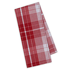 Design Imports Red Plaid Set of 4 Kitchen Towels