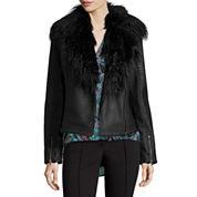 nicole by Nicole Miller® Faux Pleather Biker Jacket with Faux Fur Trim