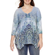 Unity™ 3/4-Sleeve Sharkbite-Hem Lace Appliqué Top - Plus