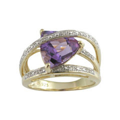Genuine Amethyst and Diamond-Accent Crisscross Ring