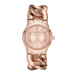 Liz Claiborne® Womens Rose-Tone Chain Bracelet Watch
