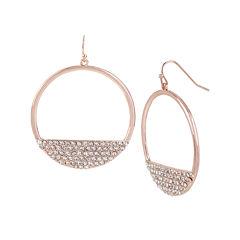Worthington® Crystal-Embellished Rose-Tone Hoop Earrings