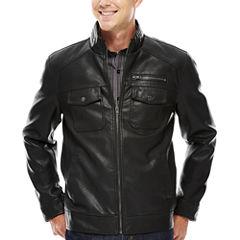 Claiborne® 2-Pocket Faux-Leather Trucker Jacket