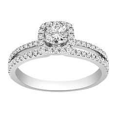 Womens 3/4 CT. T.W. Genuine Round White Diamond 14K Gold Engagement Ring