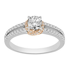 Womens 7/8 CT. T.W. Genuine Round White Diamond 14K Gold Engagement Ring