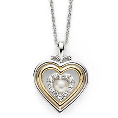 Cultured Freshwater Pearl & Lab-Created White Sapphire Heart Pendant Necklace