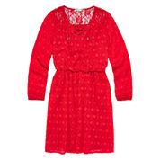Speechless® Long-Sleeve Orange Textured Chiffon Peasant Dress - Girls Plus