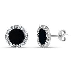 Round Black Onyx Sterling Silver Stud Earrings