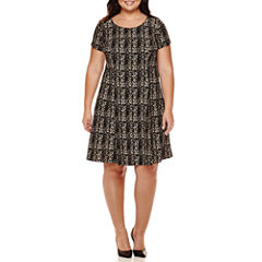 Alyx® Short-Sleeve Gold Plaid Fit-and-Flare Dress - Plus